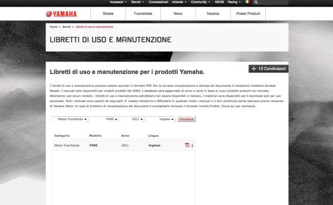 Libretto Yamaha Marine